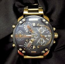 DIESEL DZ7333  MR.DADDY 2.0 MEN'S WRIST WATCH GOLD W/ BLACK DIAL $SUPERIOR$