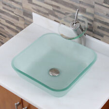 Frosted Square Tempered Glass Bathroom Vessel Sink and Waterfall Faucet Combo