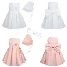 Baby Infant Flower Girls Birthday Pageant Party Bowknot Christening Dress&Bonnet