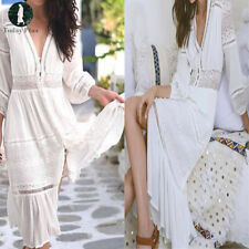 New Boho Women Long 3/4 Sleeve Lace Crochet Beach Evening Party Loose Maxi Dress
