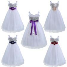 Kids Flower Girl Glitter Sequins Tutu Dress Princess Pageant Wedding Formal Gown