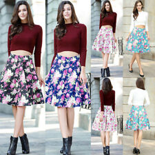 Womens Ladies 1950s Rockabilly Style High Waist Casual Party Skater Skirt Dress
