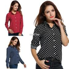 Women's Long Sleeve Polka Dot Casual Loose Button Down Shirt S0BZ