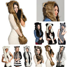 Winter Fluffy Women Plush Beanie Cap Animal Hat with Mittens Gloves Costume BKB