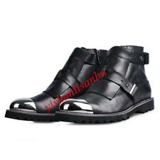 Men's Leather Metal British Ankle Boots Pointy Toe Punk Biker Shoes Ankle Boots