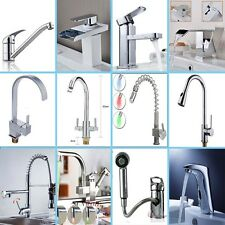 LED Pull Out Tap Spray Spout Swivel Kitchen Bathroom Mixer Faucet Glass Basin