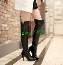 Winter womens sexy shoes high heel stiletto zip up fringe over the knee boots sz