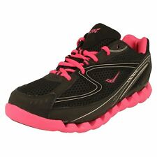 Ladies Ascot Black/Fuchsia leather lace up trainers SPRING WAVE