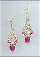Sparkling Gold Earrings with Swarovski FUCHSIA PINK Crystal Hearts