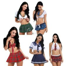 Women's Lingerie School Girl Uniform Crop Top Mini Skirt Sissy Cosplay Costumes
