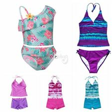 Kids Girls Baby Floral Top Bottom Bathing Tankini Set Swimwear Summer Beachwear