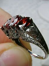 Edwardian/Victorian *Red Garnet*Solid Sterling Silver Filigree Ring Size Any/MTO