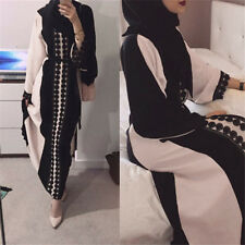 Dubia Style Lace Trim Abaya Jilbab Muslim Islamic Maxi Dress Linen Fashion Dress