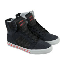 Supra Skytop Mens Black Textile High Top Lace Up Sneakers Shoes