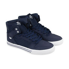 Supra Vaider Mens Blue Nubuck High Top Lace Up Sneakers Shoes