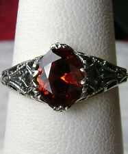 Red Garnet Sterling Silver Victorian Reproduction Filigree Ring {Made To Order}