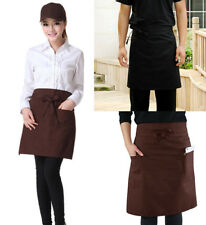 Half Length Plain Apron Pocket Chefs Restaurant Kitchen Cooking Craft Baking BBQ