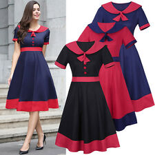 Womens Short Sleeve 50s Dress Ladies Evening Party Mini Skater Dresses UK 8-20