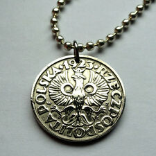 Poland 10 Groszy coin pendant Polish crowned white eagle Polska Warsaw n001152