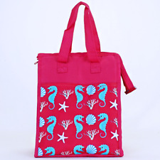 Pink & Turquoise Seahorse Insulated Lunch Tote Bag-Lunch Bag
