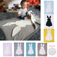 Cute Blanket Swaddle Toddler Rabbit Soft Warm Plush Cotton Knit Quilt Cot Baby