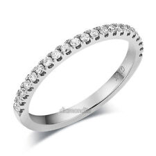14K White Gold Stackable Wedding Band Ring Half Eternity 0.22 Ct Natural Diamond