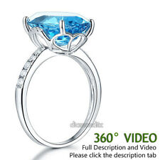 14K White Gold Luxury Ring 6.5 Ct Oval Swiss Blue Topaz 0.22 Ct Natural Diamond