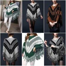 Women's Batwing Loose Poncho Knit Sweater Cape Coat Pullover Top Outwear Jacket
