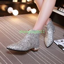 Women Bling Pointy Toe Pull On Sequin Rhinestone Flats Heel Ankle Boot Shoes Sz
