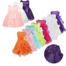Baby Flower Girls Organza Floral Tutu Dress Christening Princess Party Prom Gown
