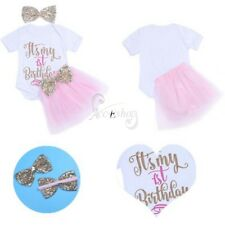 Newborn Baby Girls My 1st Birthday Toddler Romper Tutu Skirt & Headband Costumes