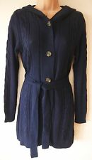 NEW LADIES LONG NAVY BLUE HOODED CARDIGAN SIZE S M L XL WOMENS TIE BELT CABLE DT
