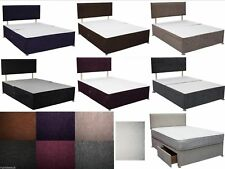 CASPIAN 3FT SINGLE DIVAN BED with DRAWERS STORAGE & HEADBOARD - MATTRESS OPTIONS