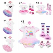 Newborn Infant Baby Girls My First Birthday Romper Top Tutu Dress Outfit Clothes