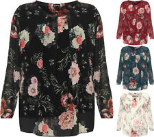 Plus Womens Long Sleeve Floral Print Chiffon Lined Diamante Ladies Sheer Top
