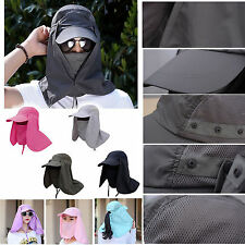 Removable Outdoor Sports Hiking Sun Hat Protect UV Face Flap Neck Fishing Cap GW