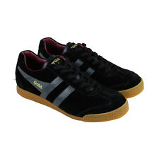 Gola Harrier Mens Black Suede Lace Up Sneakers Shoes
