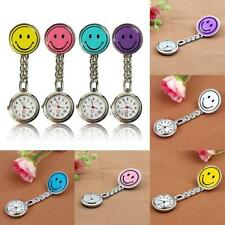 Smile Smiley Face Nurse Doctors Pocket Clip On Watch Quartz Fob Brooch Pendant