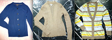 BANANA REPUBLIC Metallic Taupe CABLE Blue WOOL Striped Cardigan Sweater S SMALL