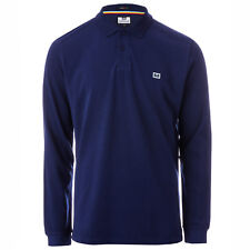 Mens Weekend Offender Moses Long Sleeve Polo Shirt In Navy- Long Sleeve- Polo