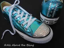 CONVERSE ALL STAR Turquoise Metallic SWAROVSKI CRYSTALS and Stars