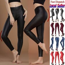 Women PU Leather Trousers Stretchy High Waist Pencil Pants Skinny Tight Leggings