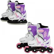 SK8 Zone Girls Pink 2in1 Adjustable Roller Blades Inline Skates Ice Skating Set