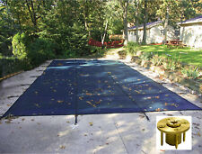 Rectangle BLUE MESH Safety Pool Cover w/ Wood Deck Anchors - 12 Year Warranty