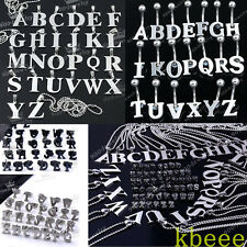 Stainless Steel A-Z Initial Alphabet Letter Earrings Necklace Set Navel Ring Lot