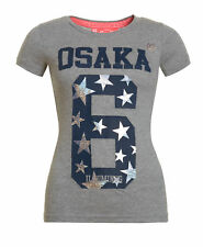 New Womens Superdry Factory Second Osaka 6 Entry T-Shirt Grey Marl Stars