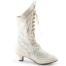 Nude Lace Up Victorian Mid Calf Steampunk Costume Boots Womans Shoes 6 7 8 9