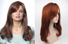 WOMEN LONG STRAIGHT HAIR W/ BIG SOFT CURLS AT ENDS AND BANGS WIG MAGGIE SKIN TOP