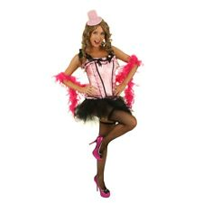 Womens Candy Pink Burlesque Costume Corset Hens Night Fancy Dress Party Outfit