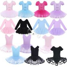 Girls Gymnastics Princess Ballet Dress Kids Leotard Tutu Skirt Dancewear Costume